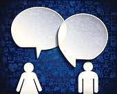 Man and woman with Paper speech bubbles -Globe network communication .eps10 format vector transparency effects and blend tool.No mesh tool.