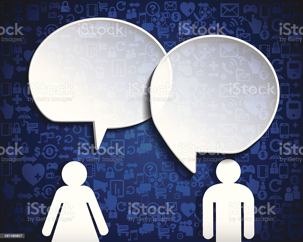 Speech bubble.Icon social network with blue background vector art illustration