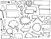 Doodles of speech bubbles, thought bubbles, exclamation marks, question marks, clouds, starbursts, thoughts, love, peace, arrows.