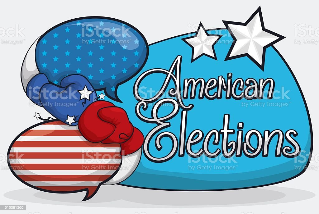 Speech Bubbles And Boxing Gloves For The Presidential Debate Stock