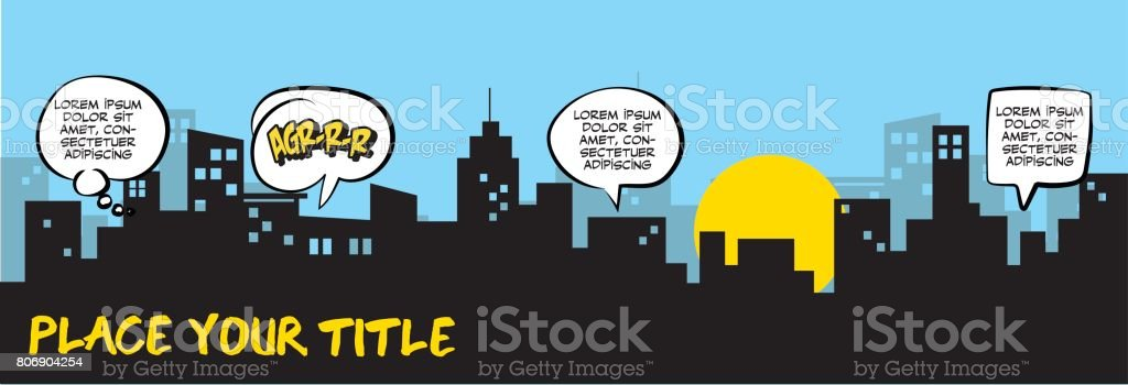 Speech Bubbles and city silhouette - Royalty-free Badge stock vector