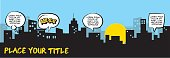 bubbles, speech, city silhouette, cartoon,  comics