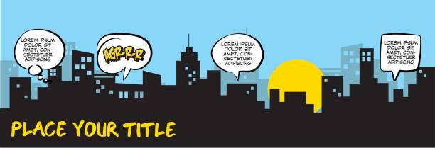 speech bubbles and city silhouette - superhero stock illustrations, clip art, cartoons, & icons