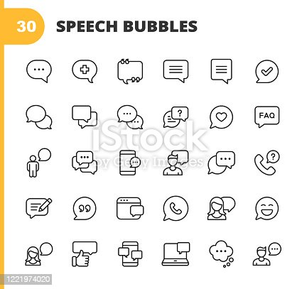 istock Speech Bubbles and Communication Line Icons. Editable Stroke. Pixel Perfect. For Mobile and Web. Contains such icons as Speech Bubble, Message Bubble, Chat, Online Communication, Smartphone, Video Conference, Feedback, Telephone, Web Browser. 1221974020