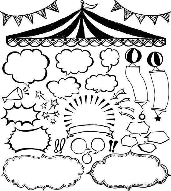 ilustrações de stock, clip art, desenhos animados e ícones de speech bubbles and market place ornaments. - balão enfeite