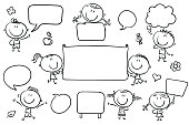 Doodle characters with blank signs, banners, speech bubbles. Easy to print and edit. Vector files can be scaled to any size.