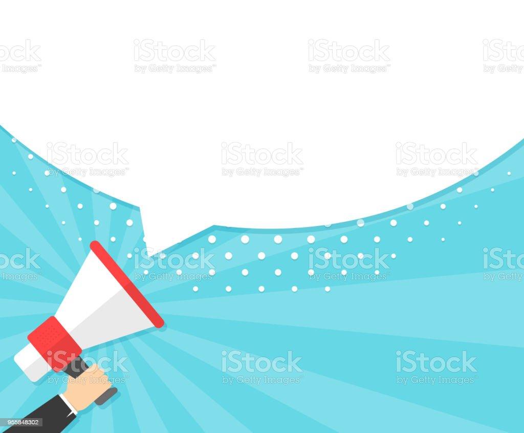 Speech bubbles announced by megaphone,flat vector illustration background.