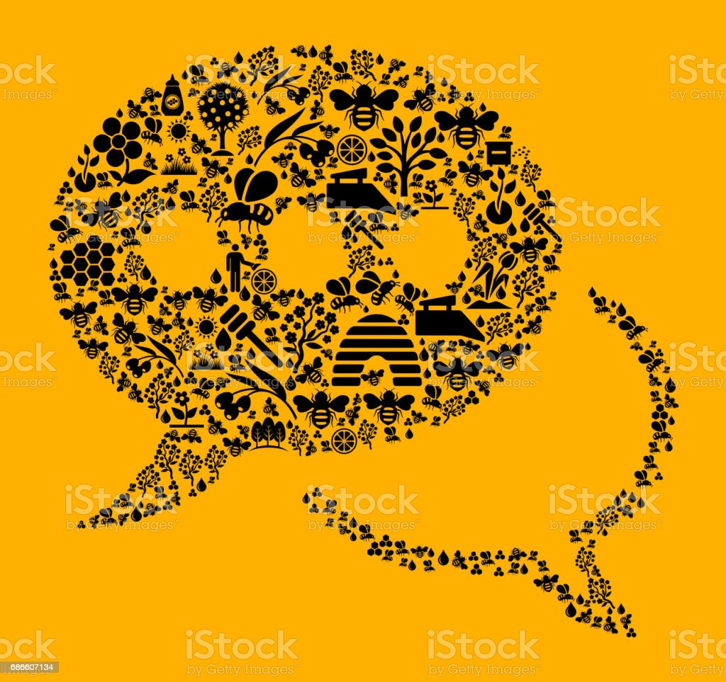 Speech Bubbles Bee and Honey Vector Icon Background royalty-free speech bubbles bee and honey vector icon background stock vector art & more images of agriculture