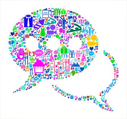 Speech Bubbles Birthday Celebration Vector Icon Pattern
