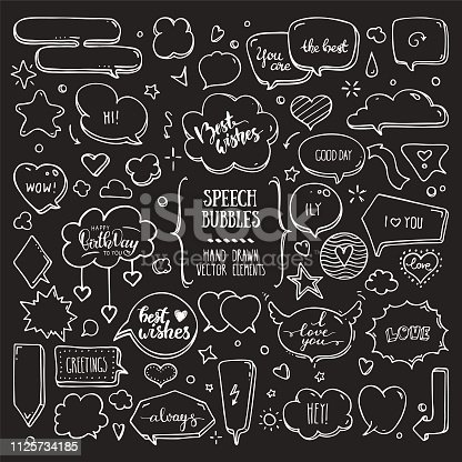 Think, talk speech bubbles with love messages, birthday congratulations, greetings. Artistic collection of hand drawn doodle style comic balloon, cloud, heart shaped design elements. Isolated vector set on black background.