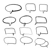 Vector illustration of a collection of hand drawn cartoony speech bubbles