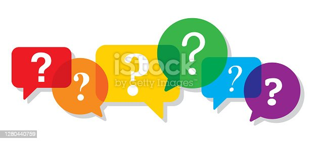 Vector illustration of multi-colored speech bubbles against a white background in flat style.