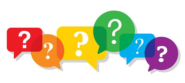 Speech Bubbles Colorful Question Mark