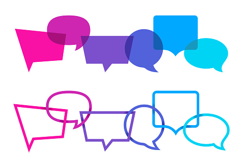 Speech bubbles for chatting talking with space for your copy.