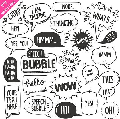 Speech Bubbles Design elements. Black and White Vector Doodle Illustration Set. Editable Stroke. clipart