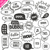 Set of speech bubbles related objects and elements. Hand drawn doodle illustration collection isolated on white background. Grouped with text easily removed. Editable stroke/outline.