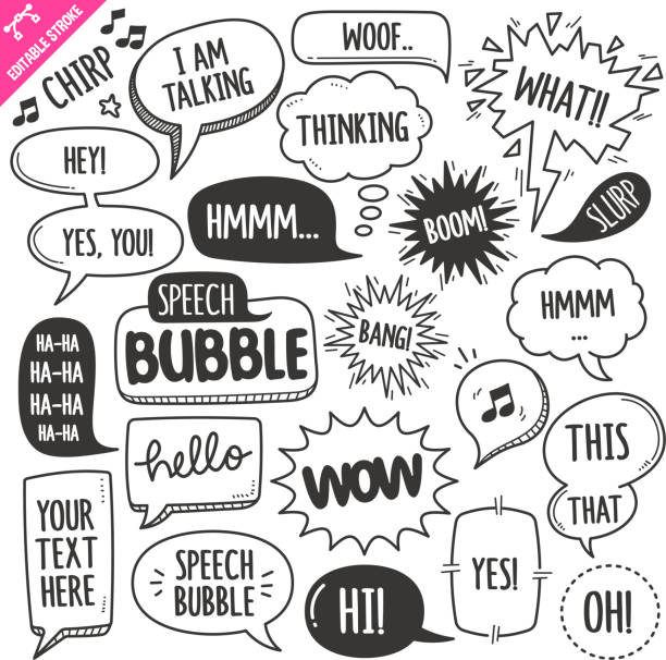 Speech Bubbles Design elements. Black and White Vector Doodle Illustration Set. Editable Stroke. Set of speech bubbles related objects and elements. Hand drawn doodle illustration collection isolated on white background. Grouped with text easily removed. Editable stroke/outline. speech bubble stock illustrations