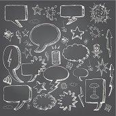 Speech bubbles doodles in black chalkboard