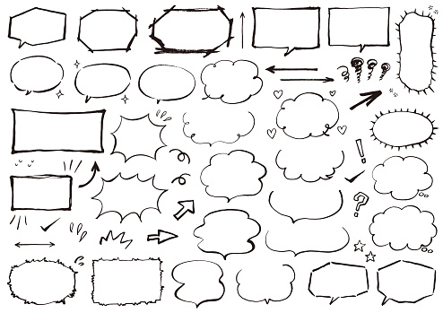Speech bubbles drawn in India ink / Black line