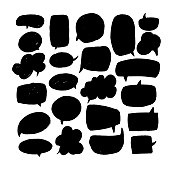 Speech bubbles dry paint brushstrokes set. Chat boxes grunge ink pen collection. Text clouds, balloons doodle freehand cliparts. Isolated black sketch drawings. Decorative design elements.