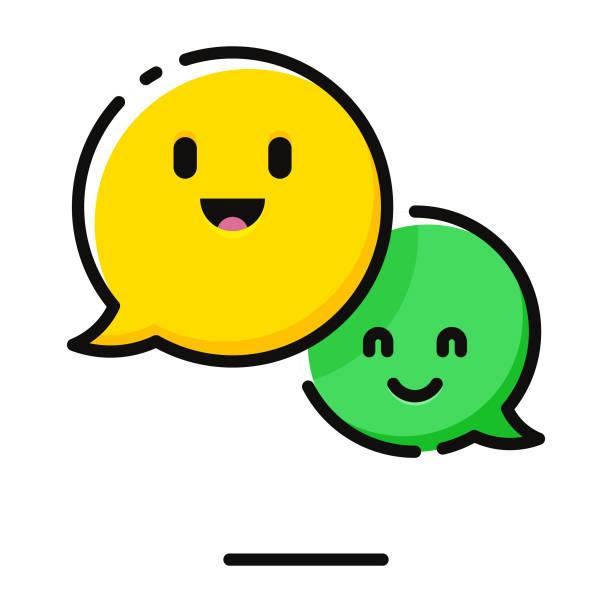 Speech bubbles emoticons Vector illustration of a set of speech bubbles emoticons happiness stock illustrations