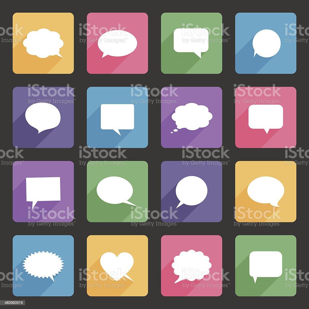 Speech bubbles flat icons set vector art illustration
