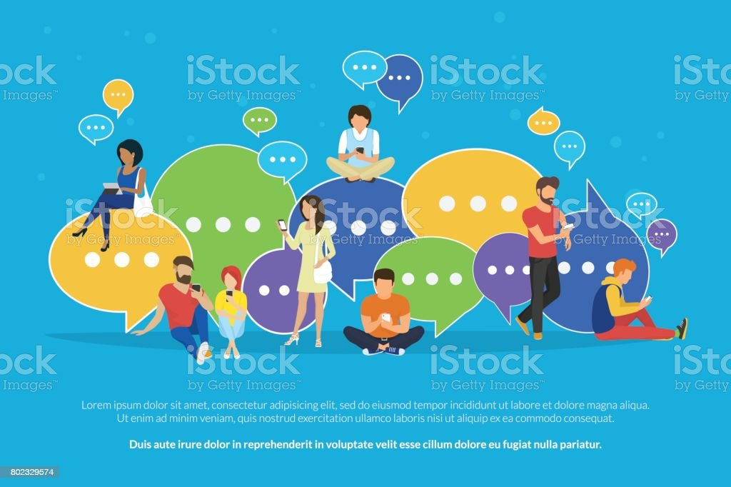 Speech bubbles for comment and reply concept flat vector illustration vector art illustration