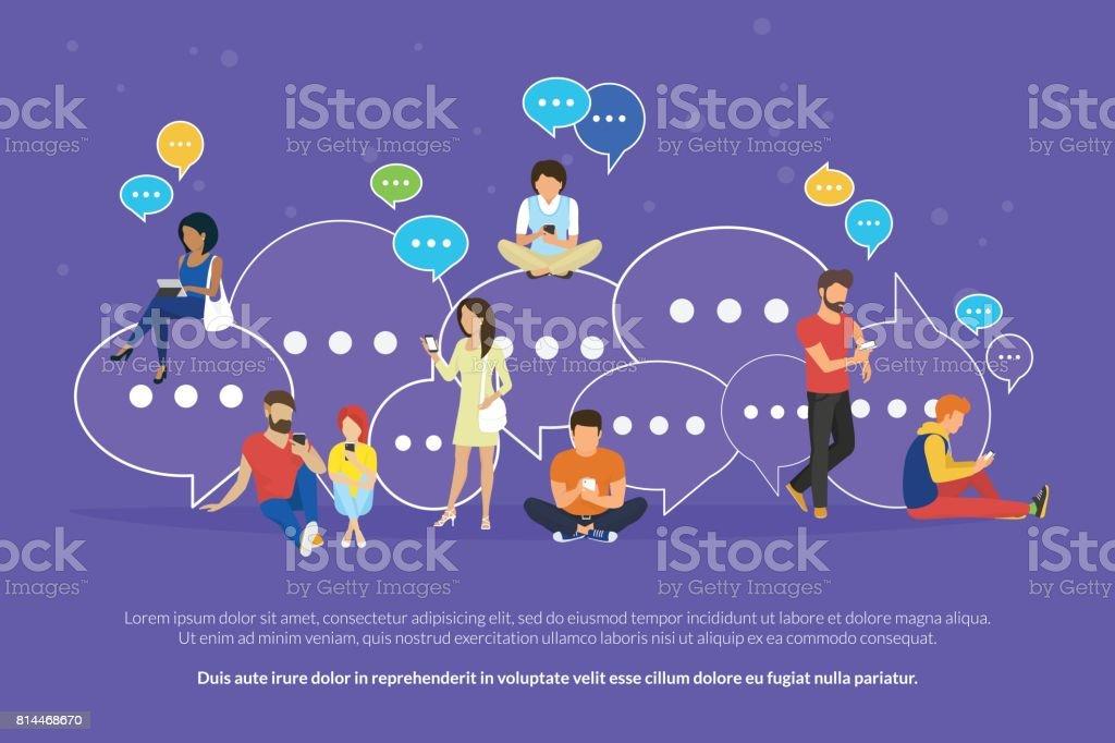 Balões de fala para ilustração em vetor plana conceito comentário e resposta - ilustração de arte em vetor
