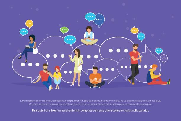 speech bubbles for comment and reply concept flat vector illustration - social stock illustrations, clip art, cartoons, & icons
