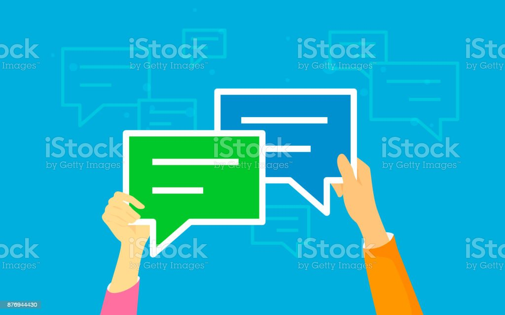 Speech bubbles for comment anf reply concept illustration of flat human hands hold symbols vector art illustration