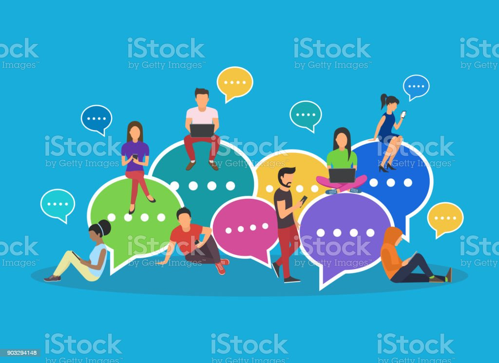 Speech bubbles for comment vector art illustration