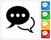 Speech Bubbles Icon Flat Graphic Design