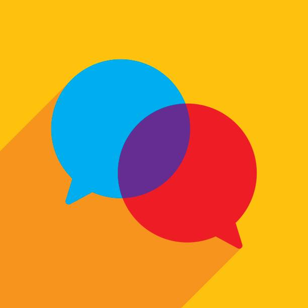 Speech Bubbles Icon Flat Vector illustration of blue and red speech bubbles against an orange background in flat style. debate stock illustrations