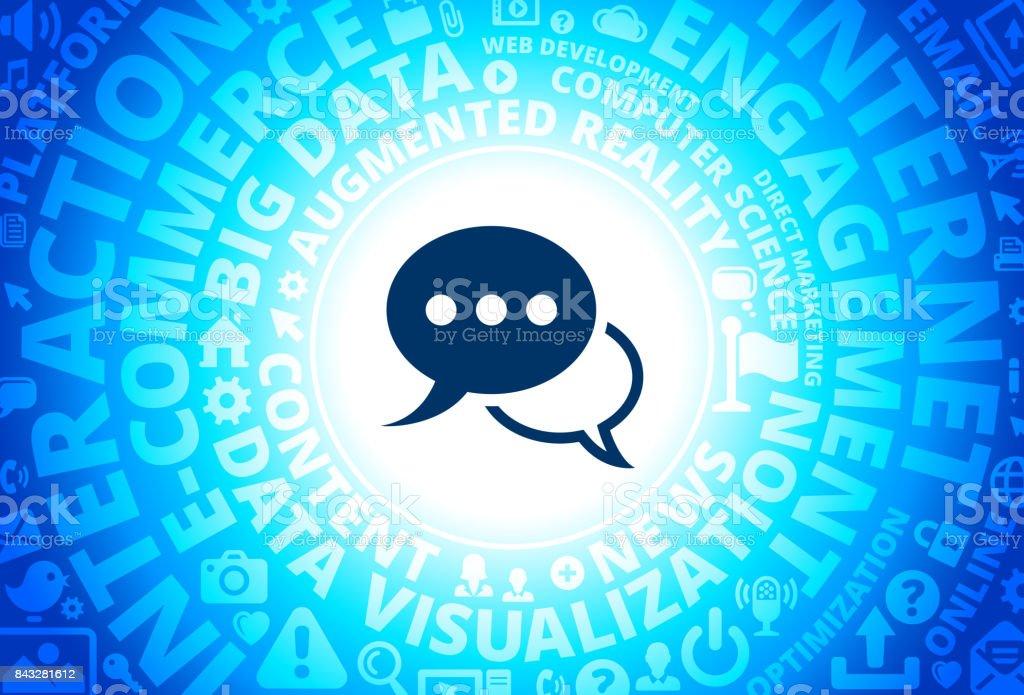 Speech Bubbles Icon on Internet Modern Technology Words Background vector art illustration