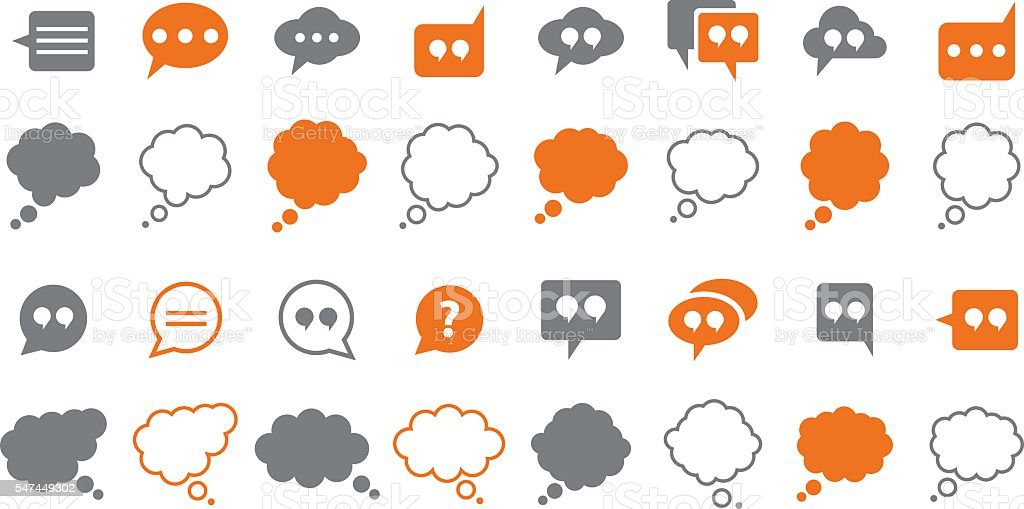 Speech bubbles icon set vector art illustration