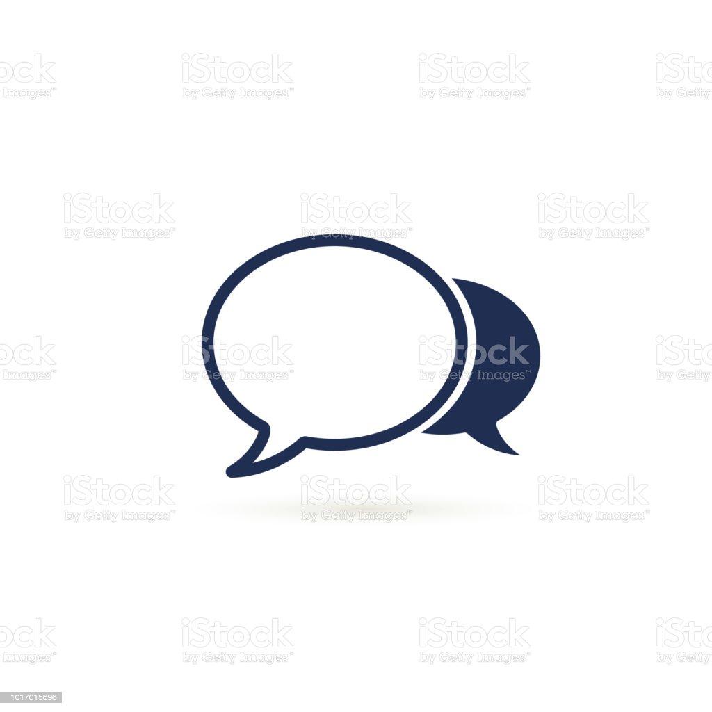 語音氣泡圖示向量平面設計插圖在白色上隔離 - 免版稅一個物體圖庫向量圖形