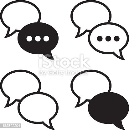 Vector illustration of four sets of black and white speech bubbles.