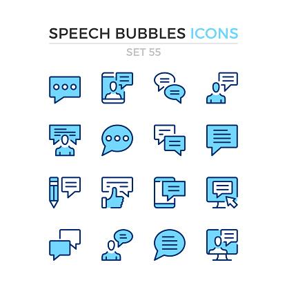 Speech bubbles icons. Vector line icons set. Premium quality. Simple thin line design. Modern outline symbols, linear stroke pictograms.