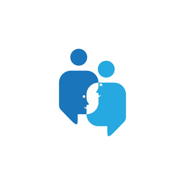 Speech bubbles in blue color shaped face people talking Speech bubbles in blue color shaped face people talking. Best design for your best business symbol. Vector illustration EPS.8 EPS.10 debate stock illustrations
