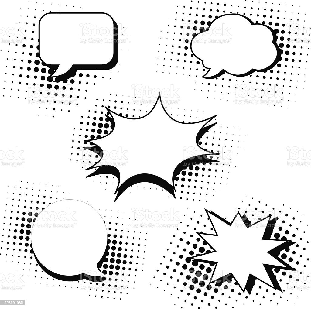 speech bubbles in pop art style set vector art illustration