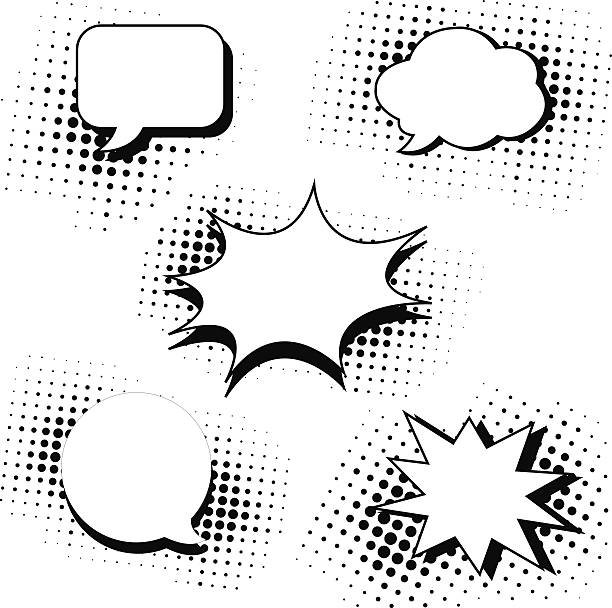 speech bubbles in pop art style set vector art illustration