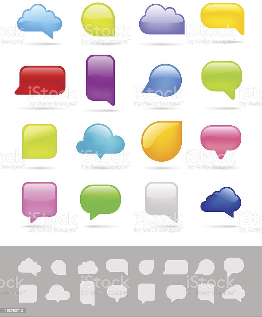 Speech bubbles in various colors and sizes royalty-free stock vector art