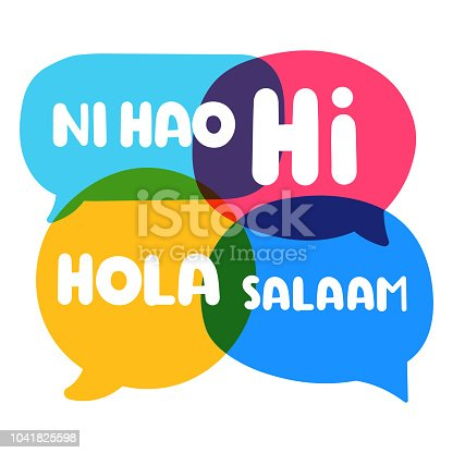 istock Speech bubbles Ni hao, hi, hola, salaam. Vector business illustration on white background. 1041825598