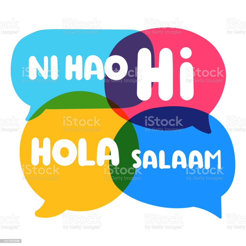 Speech bubbles Ni hao, hi, hola, salaam. Vector business illustration on white background. vector art illustration