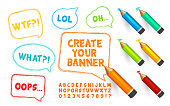 Speech bubbles, pencils and doodles font. Set of scribble banners, crayons and alphabet with numbers for create vector template. Hand drawn sketch. Vector illustration