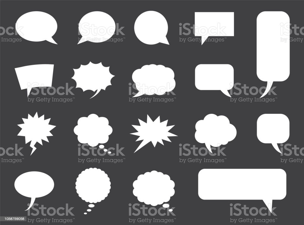 在向量中設置的語音氣泡, 空白的空漫畫雲 - 免版稅一組物體圖庫向量圖形