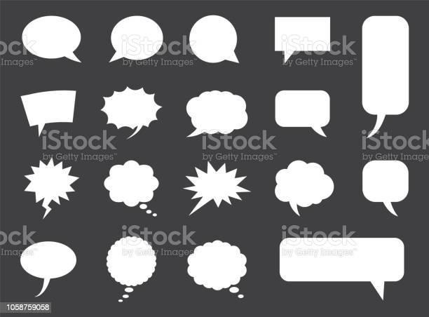 在向量中設置的語音氣泡 空白的空漫畫雲向量圖形及更多一組物體圖片