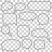 Speech bubbles set isolated on chess back