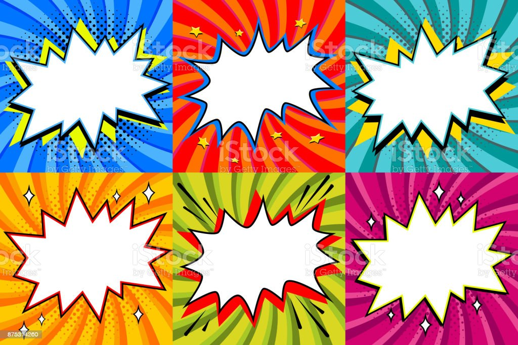 Speech bubbles set. Pop art styled blank speech bubbles template for your design. Clear empty bang comic speech bubbles on colored twisted backgrounds. Ideal for web banners