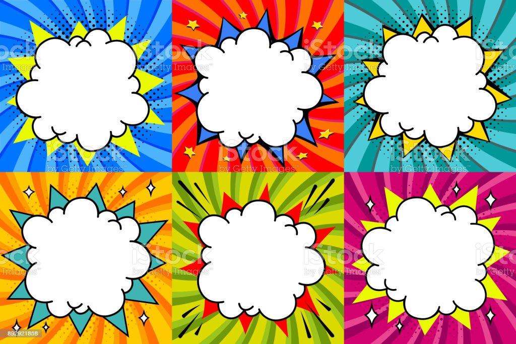 speech bubbles set pop art styled blank speech bubbles template for